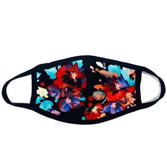 Black Floral Reversible Facial Protector For Adults