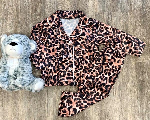 Satin Animal Print PJ's For Girls