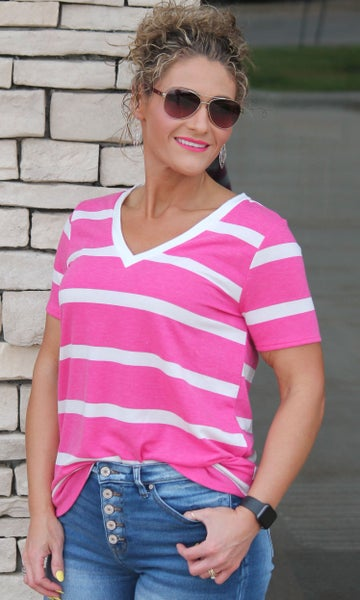 Fuchsia Stripe V-Neck Top For Women *Final Sale*