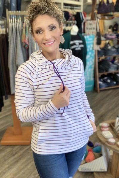 Purple Stripe Double Hoodie For Women