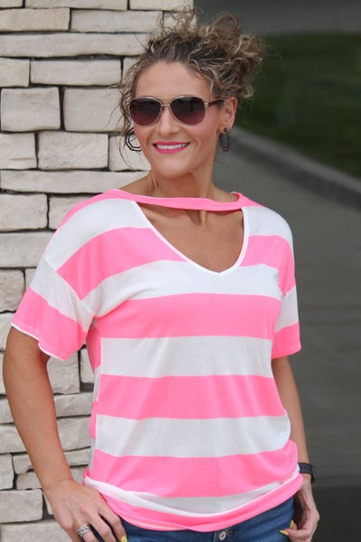 Neon Pink Stripe V-Neck Top For Women *Final Sale*