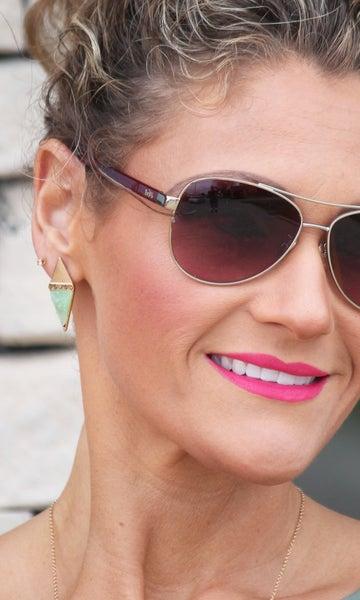 Green Triangle Stud Earrings