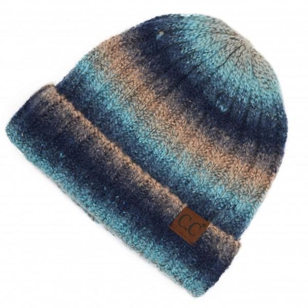 C.C. Navy Ombre Knit Cuff Beanie For Women