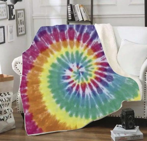 Classic Rainbow Tie Dye Deluxe Plush Blanket