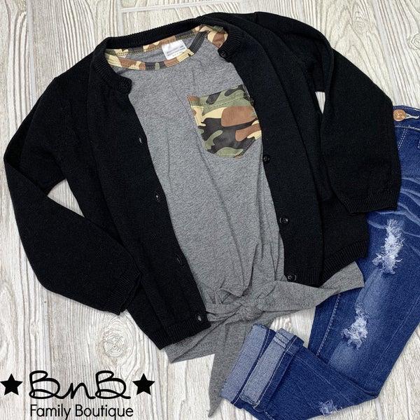 Girls Black Sweater Cardigan *Final Sale*