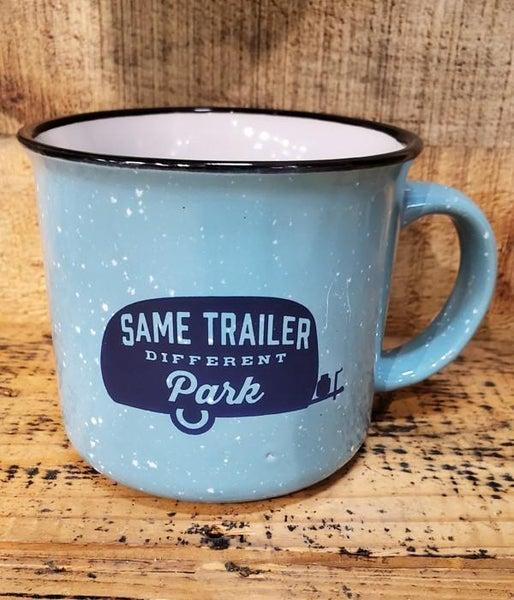 Same Trailer Different Park Speckled Blue Mug