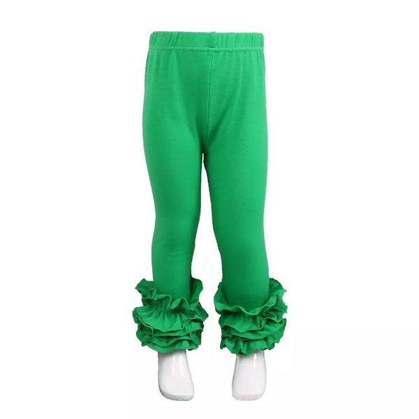 Green Ruffle Legging For Girls