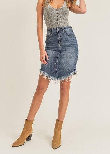 Risen Dark Frayed Hem Midi Skirt For Women