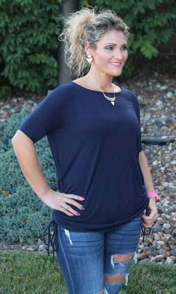 Navy Ruched Top For Women *Final Sale*