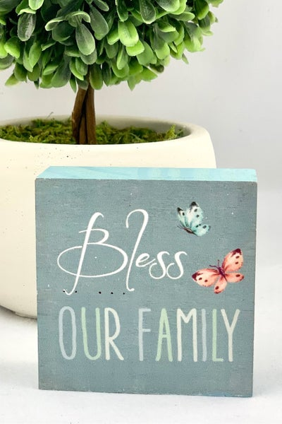 Bless Our Family Mini Wood Sign