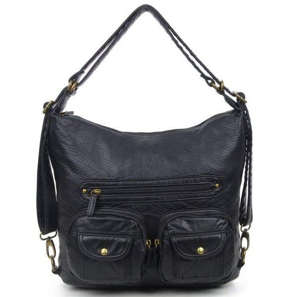 Black Convertible Crossbody Backpack For Women