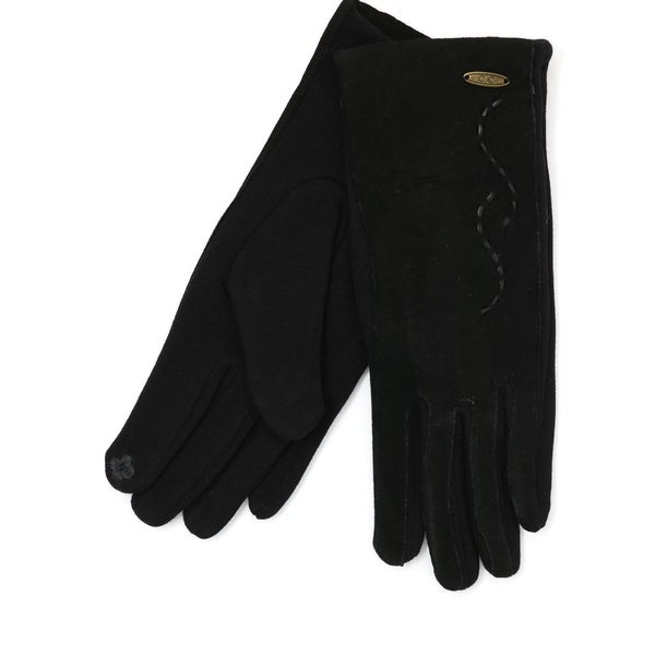 C.C. Black Suede Touchscreen Gloves For Women