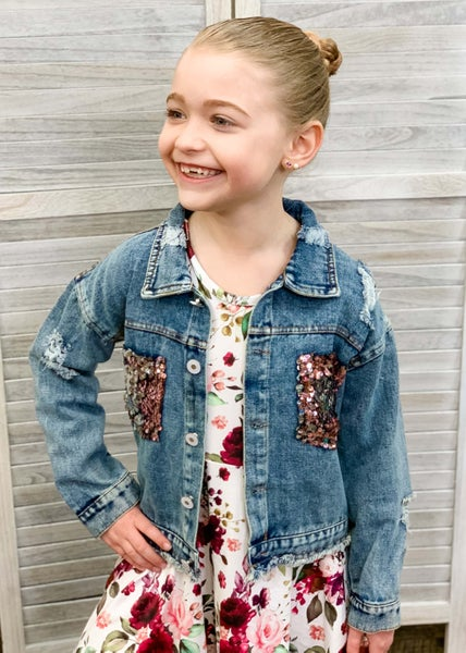 Distressed Denim Jacket For Girls
