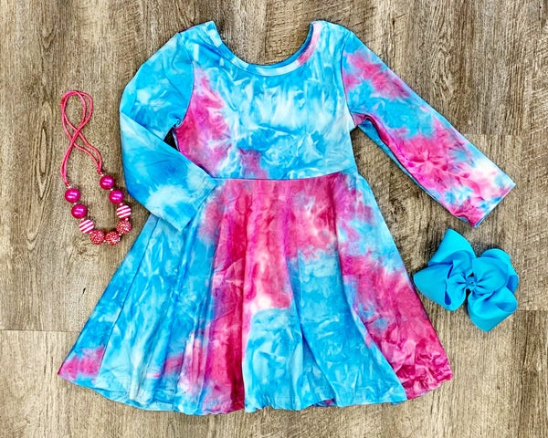 Turquoise & Pink Tie Dye Dress For Girls