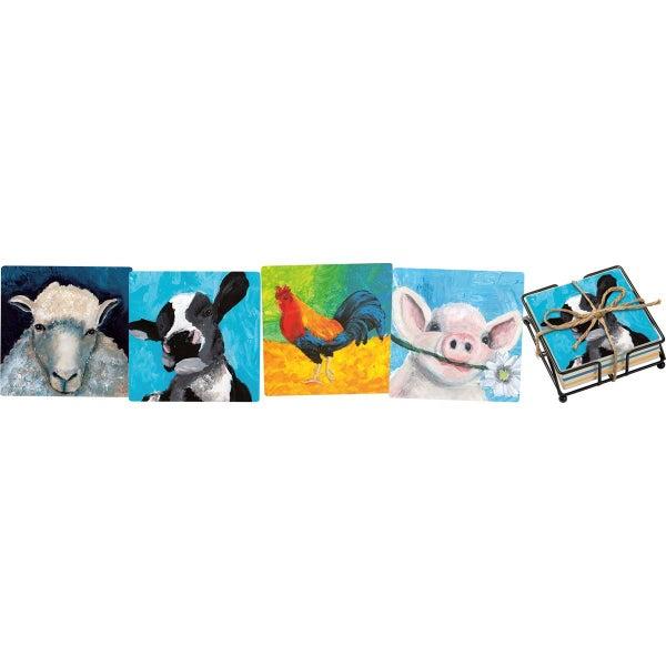 Choose Happy Farm Animals Coaster Set