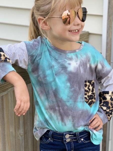 Mint Tie Dye Animal Print Top For Girls