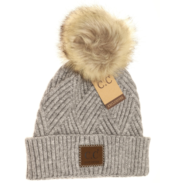 C.C. Heathered Gray Fur Pom Beanie For Women
