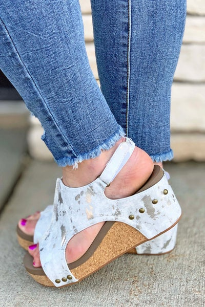 Corkys White Metallic Carley Wedge Sandal For Women