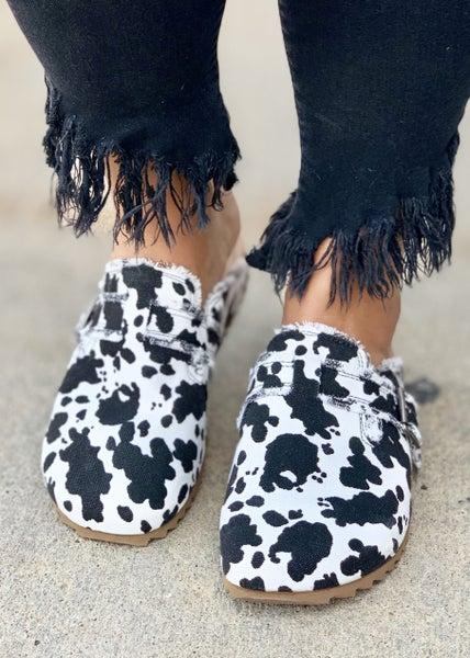 Picnic White Black Cow Clog For Women