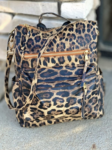 Brown Animal Print Convertible Backpack Purse