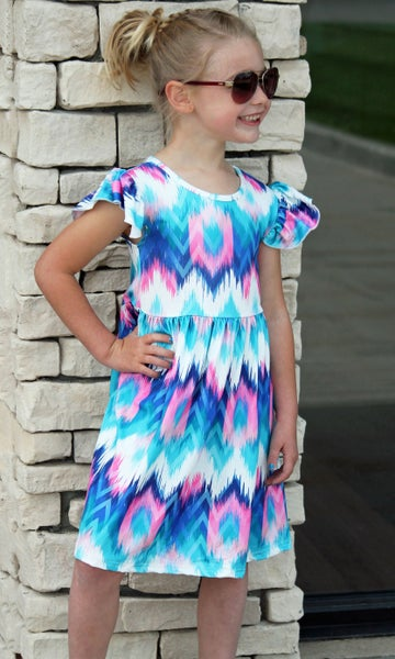 Royal Blue & Pink Tie Dye Dress For Girls *Final Sale*