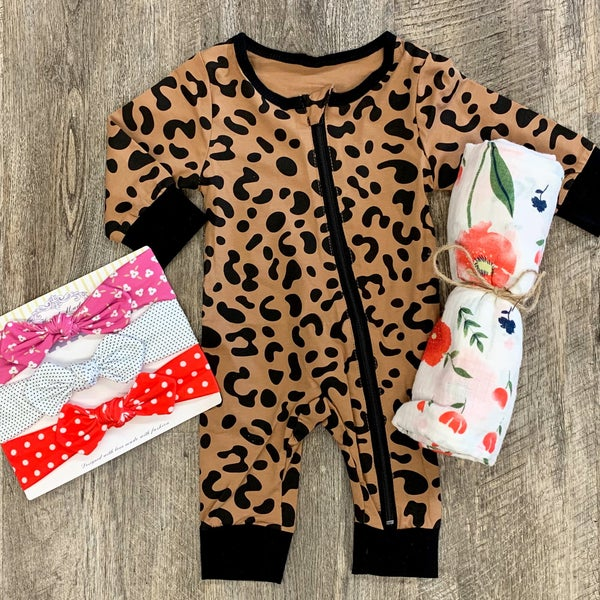 Animal Print Zippered PJ's For Baby Girl