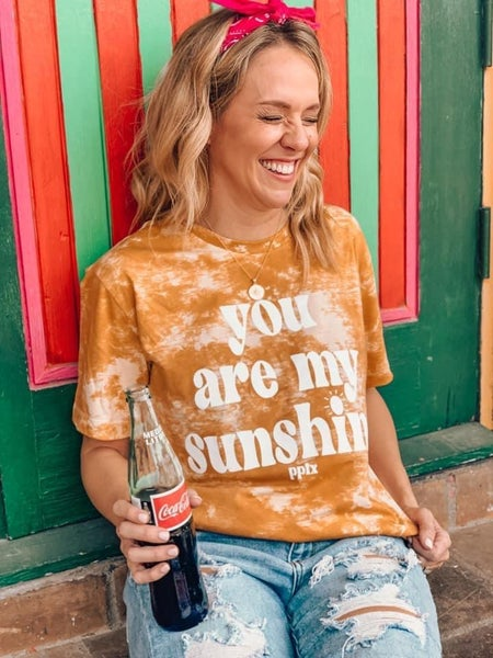 You Are My Sunshine Gold Tie Dye Graphic Tee For Women