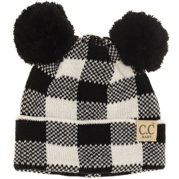 C.C Black & White Buffalo Plaid Double Pom Beanie For Baby