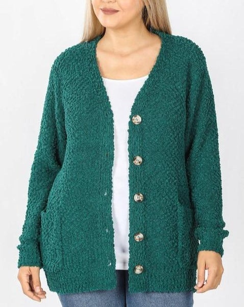 Deep Green Button Down Popcorn Cardigan For Women