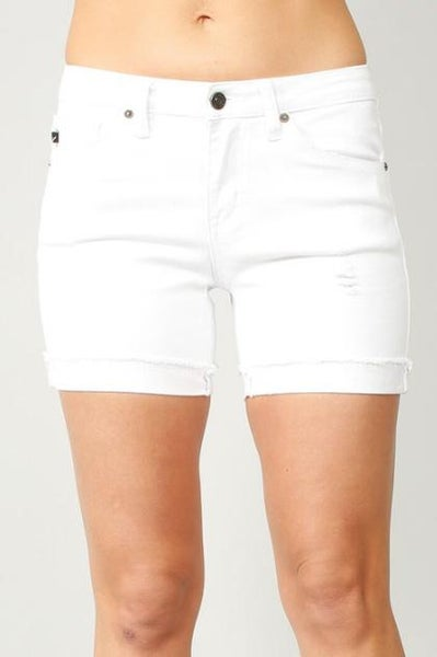 KanCan Mid Rise White Shorts For Women