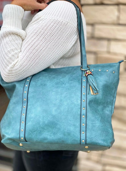 Blue Rivet Purse For Women