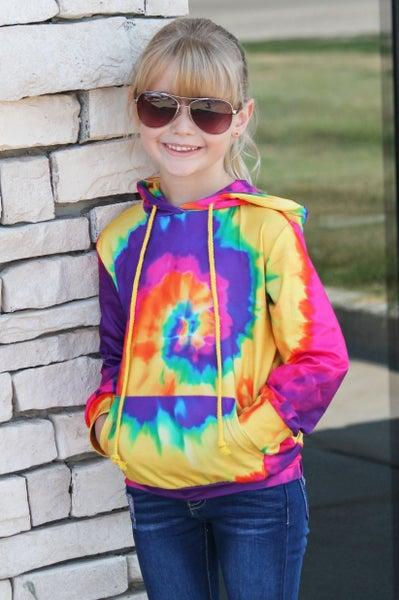 Happy Days Tie Dye Hoodie For Girls