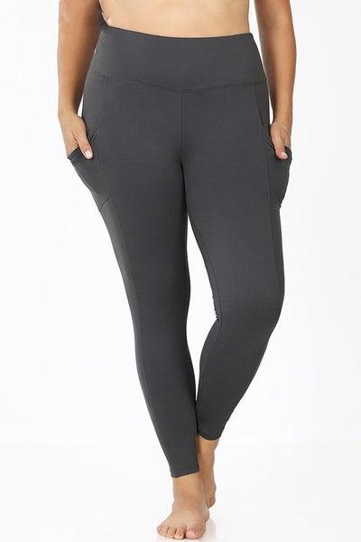 Ash Gray High Waist Pocket Leggings For Women