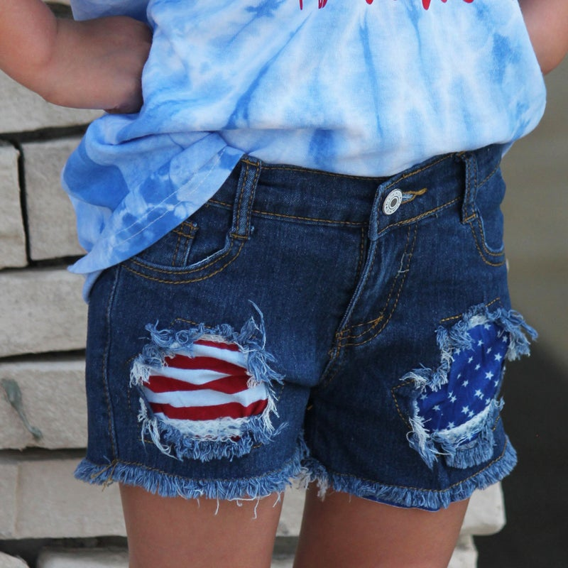 Flag Patch Denim Shorts For Girls *Final Sale*