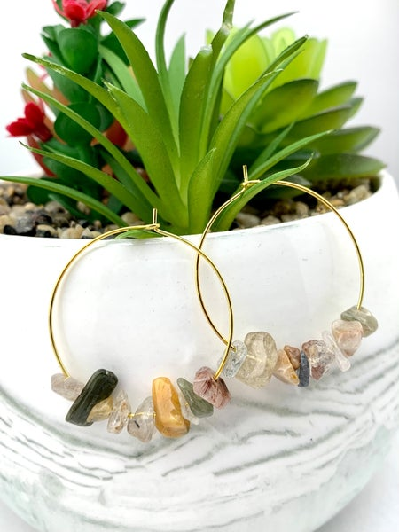 Quartz Earth Tones Natural Gem Stone Hoop Earrings *Final Sale*