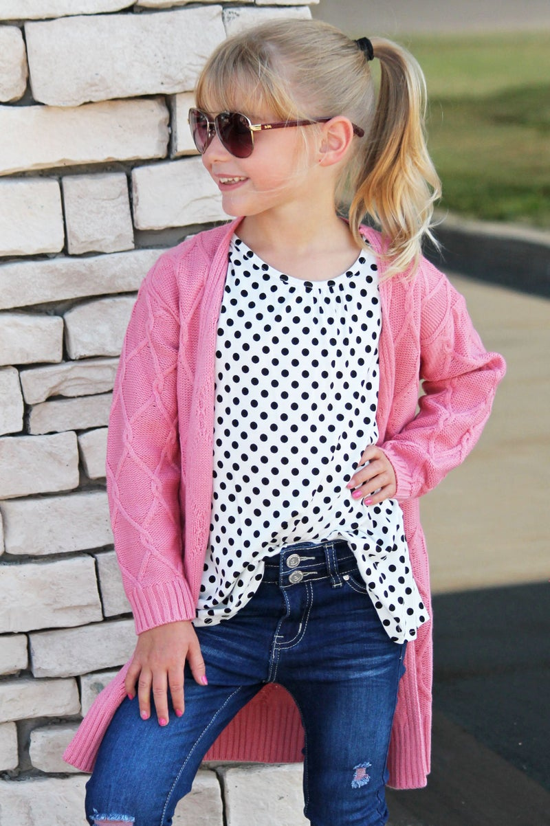 Pink Chunky Knit Cardigan For Girls *Final Sale*