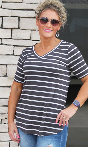 Everyday V-Neck Dark Gray Stripe Essential Top For Women *Final Sale*