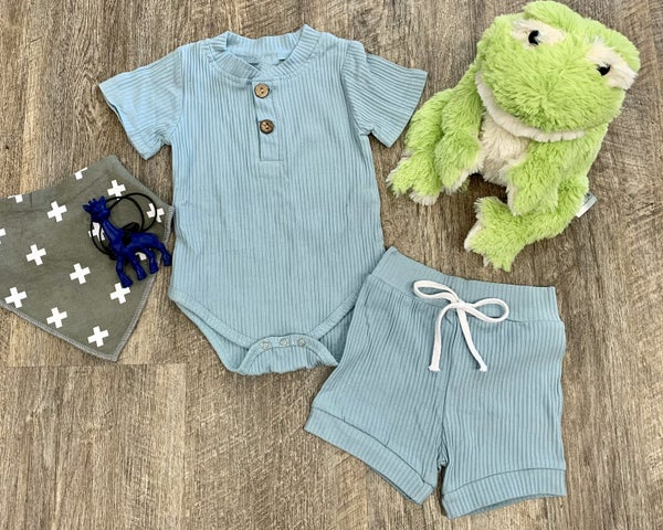 Vintage Blue 2pc Outfit Set For Baby