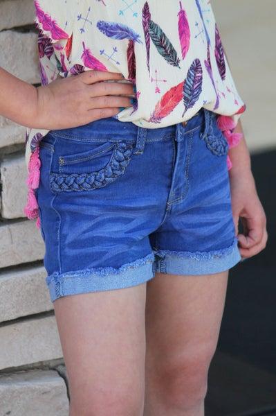 Braided Denim Shorts For Girls