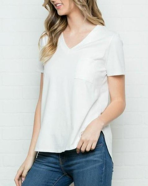 Ivory Pocket Tee For Women *Final Sale*