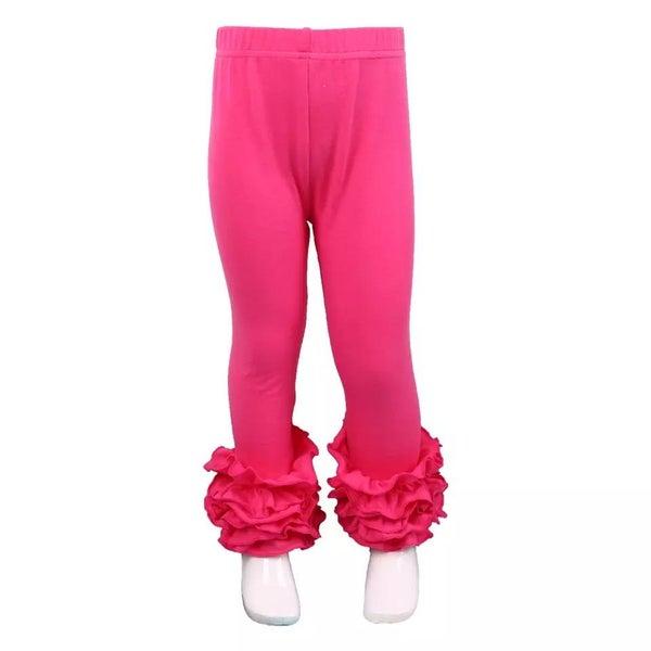 Shocking Pink Ruffle Legging For Girls