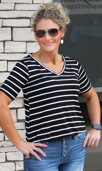Everyday V-Neck Black Stripe Essential Top For Women *Final Sale*