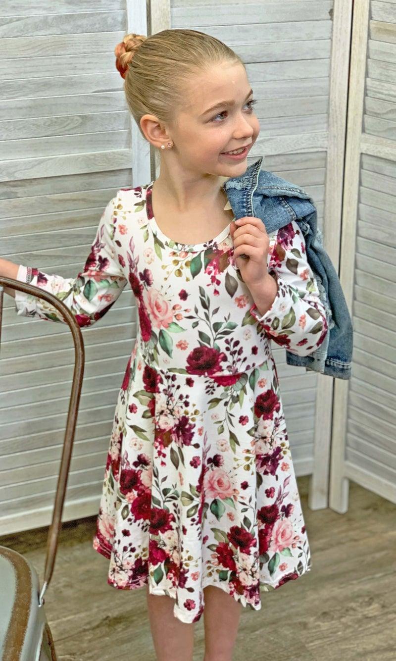 Wine Floral Dress For Girls