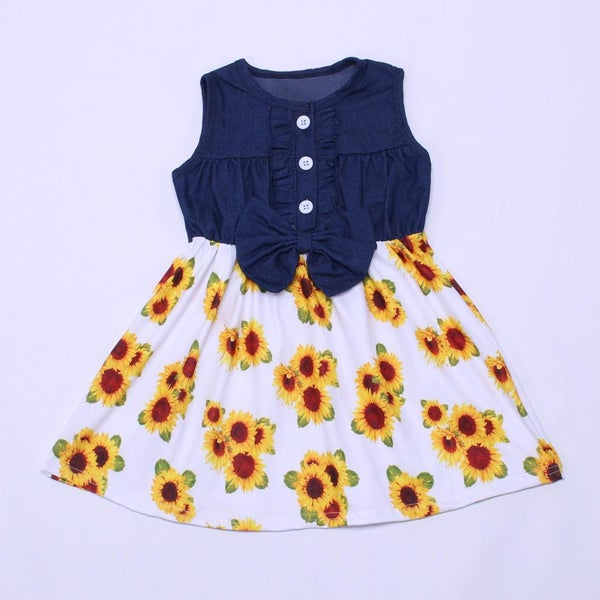 Sunflower Chambray Sun Dress For Girls