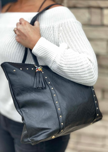 Black Rivet Purse For Women