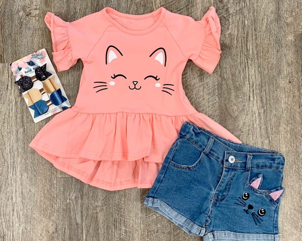 Sweet Kitty 2pc Outfit Set For Girls