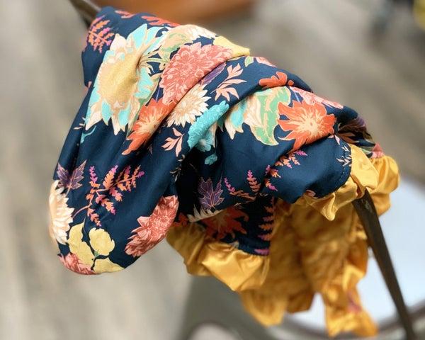 Navy Floral Cozy Baby Blanket