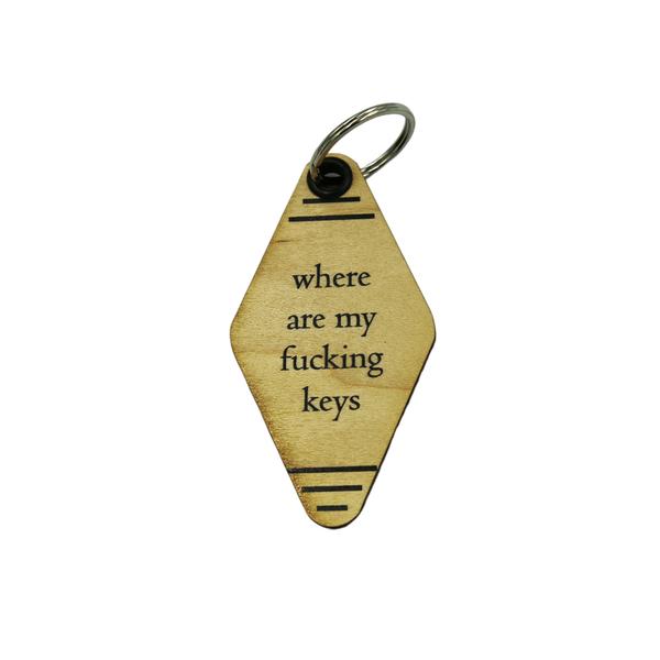 Where Are My Keys Vintage Motel Keychain