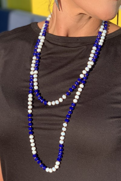 Long Blue & White Beaded Necklace *Final Sale*