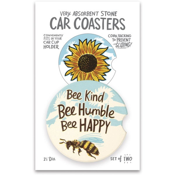Bee Kind Bee Humble Bee Happy - Car Coasters *Final Sale*